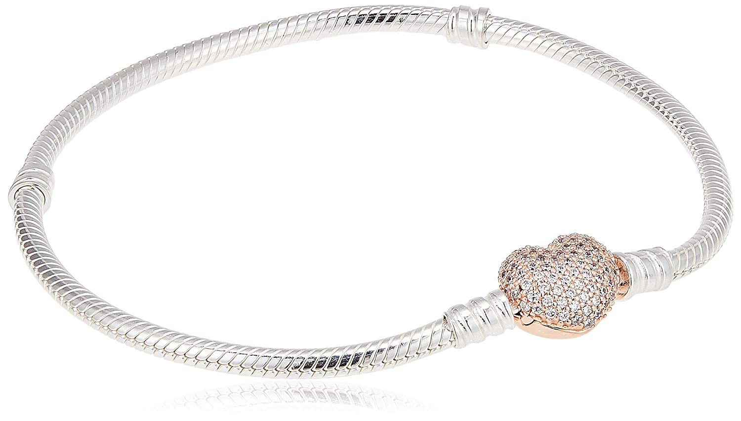 PANDORA Jewelry - Moments Pavé Heart Clasp Snake Chain Bracelet for Women in Rose and Sterling Silver with Clear Cubic...