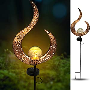 X-PREK Solar Garden Light Outdoor Decorative,Led Moon Crackle Glass Globe Metal Stake Lights for Yard,Patio,Pond,Pathway,Lawn,Festival Decor(Hollow Pattern)