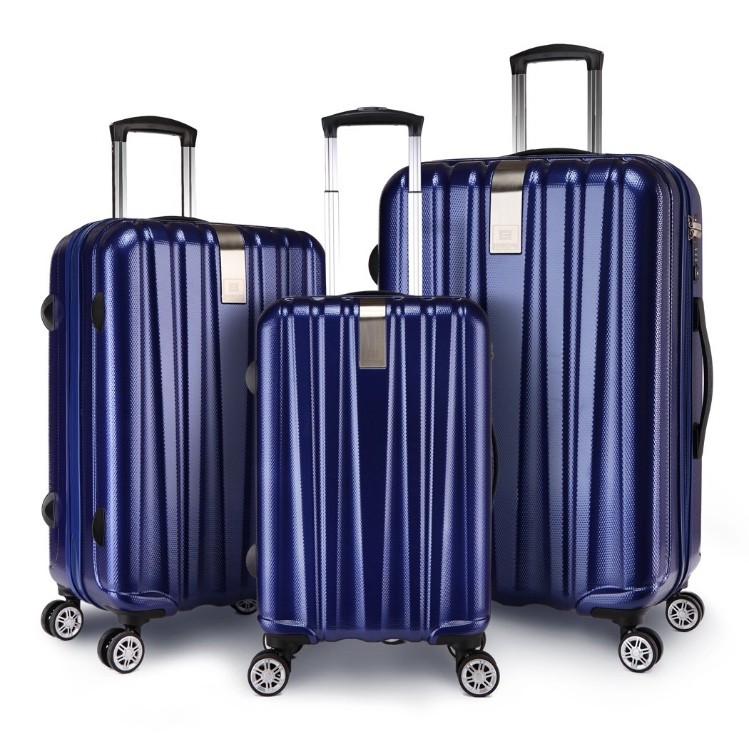 Windtook 3 Piece Luggage Sets Expandable Spinner Suitcase Bag for Travel and Business-M6601 Navy Blue