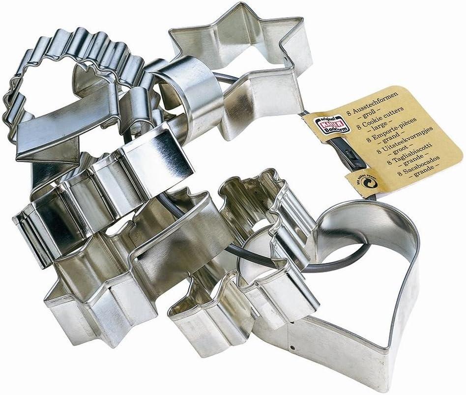 Kaiser Cookie Cutters Juego 8 moldes medianos con Motivos navideños, Acero Inoxidable, Grande