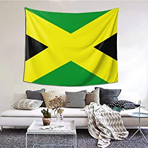NiYoung Green Yellow Jamaican Flag Wall Tapestry Hippie Art Tapestry Wall Hanging Home Decor Extra Large tablecloths 60x51 inches for Bedroom Living Room Dorm Room