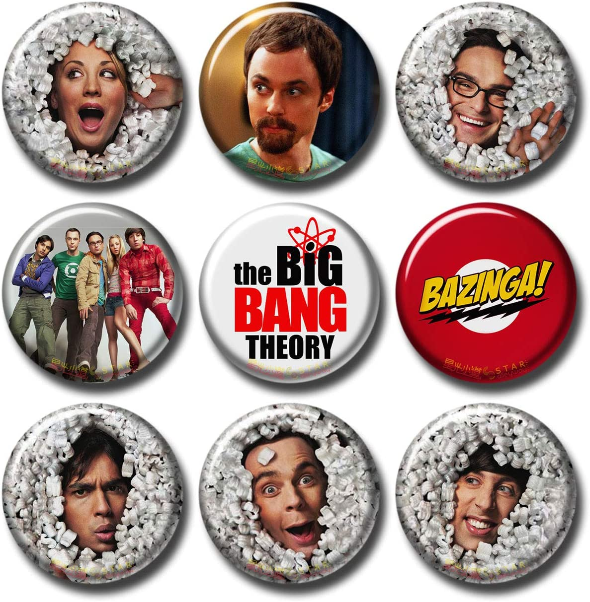 The Big Bang Theory 9 pcs Button Fridge Magnets Set Pack TV Series 045-P005 Cast Kaley Cuoco Jim Parsons Sheldon Logos,Party Favors Supplies Gifts Home Decor (Round 1.5 inch|3.7cm)