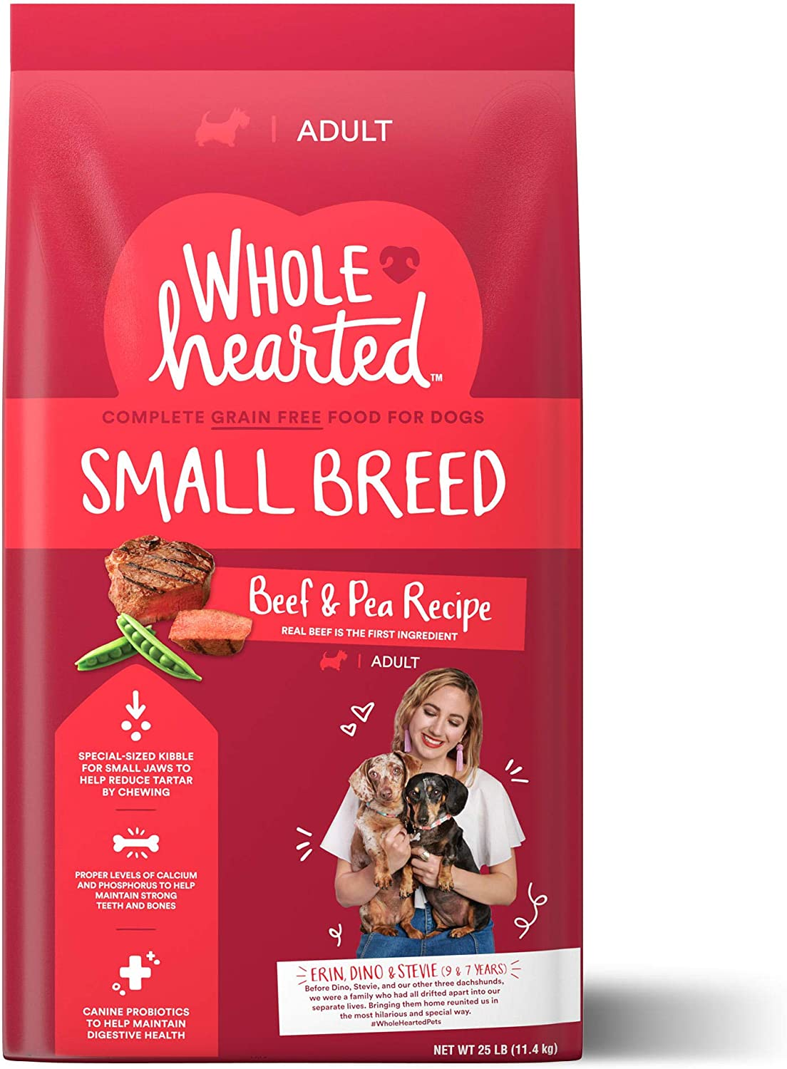 WholeHearted Grain Free Small-Breed Beef and Pea Recipe Adult Dry Dog Food, 25 lbs.
