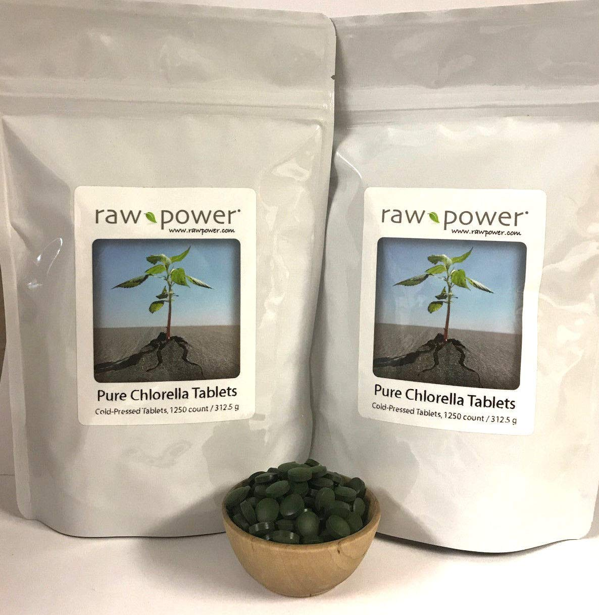 Chlorella Tablets (2500 Count, 625g), Cold-Pressed, 100% raw and Pure, from Raw Power Organics