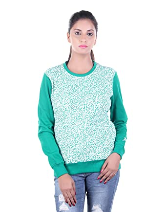 d62b6458a3 ABSURD Full Sleeve Self Design Women s Fleece Sweatshirt(ABWS18-315Green-Small)   Amazon.in  Clothing   Accessories