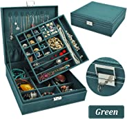 QBeel Jewelry Box for Women, 2 Layer 36 Compartments Necklace Jewelry Organizer with Lock Jewelry Holder for Earrings Bracel