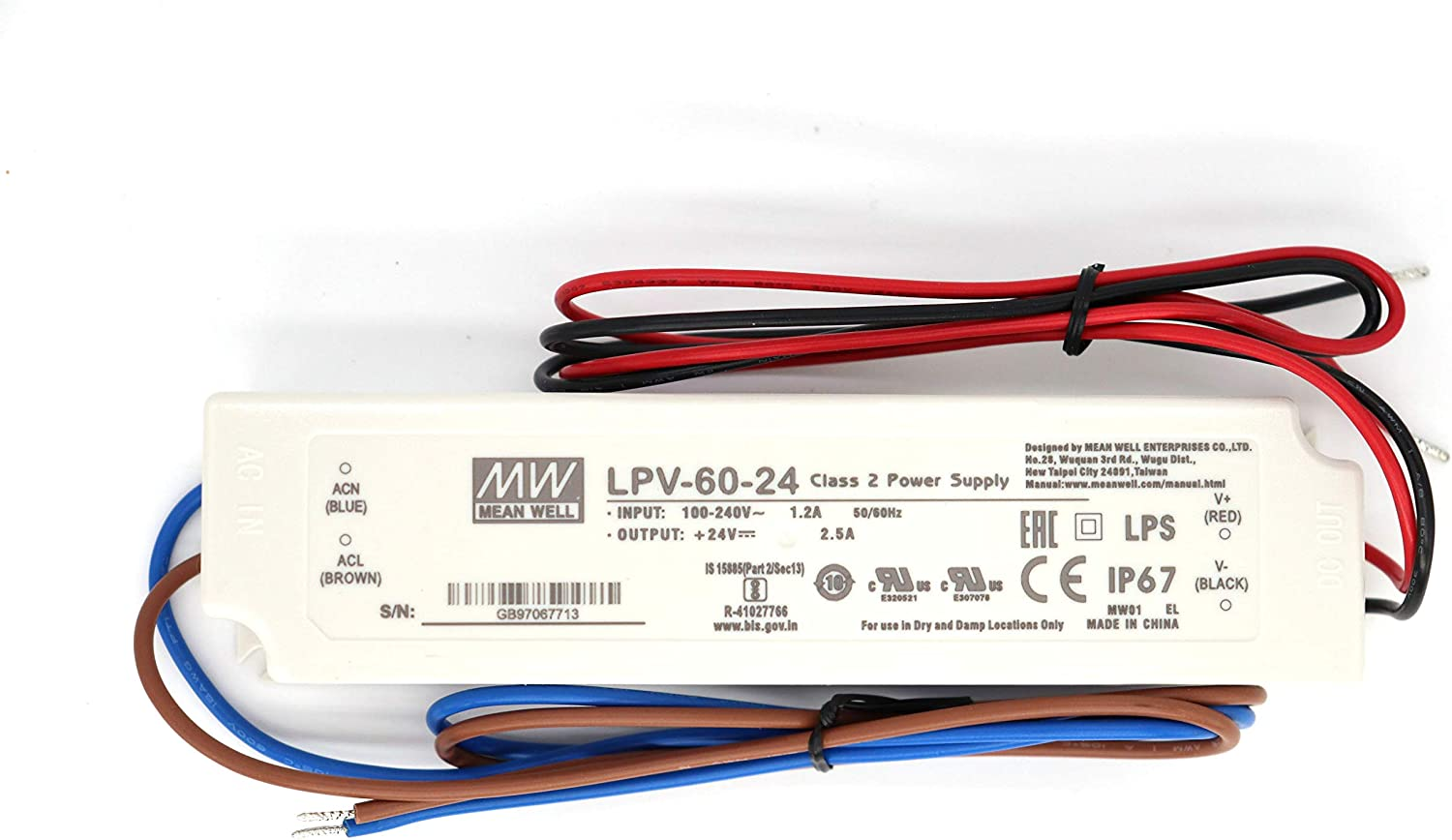 Taiwan meanwell Switching Power Supply CLG-60-12 60W 12V5A LED Waterproof Power Supply Official Authorized