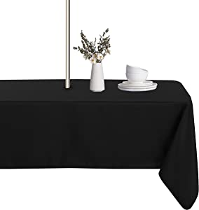LUSHVIDA Outdoor and Indoor Tablecloth - Washable Waterproof Wrinkle Free Table Cloth with Zipper and Umbrella Hole for Spring/ Summer/ Party/ Picnic/ BBQS/ Patio (Rectangle 60x84 inch, Black)