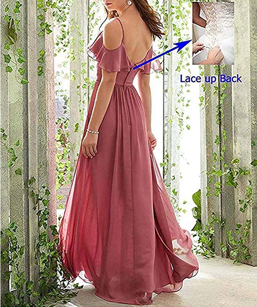 Womens Long Chiffon Spaghetti Straps Bridesmaid Dress Cold-Shoulder Evening Gowns Champagne