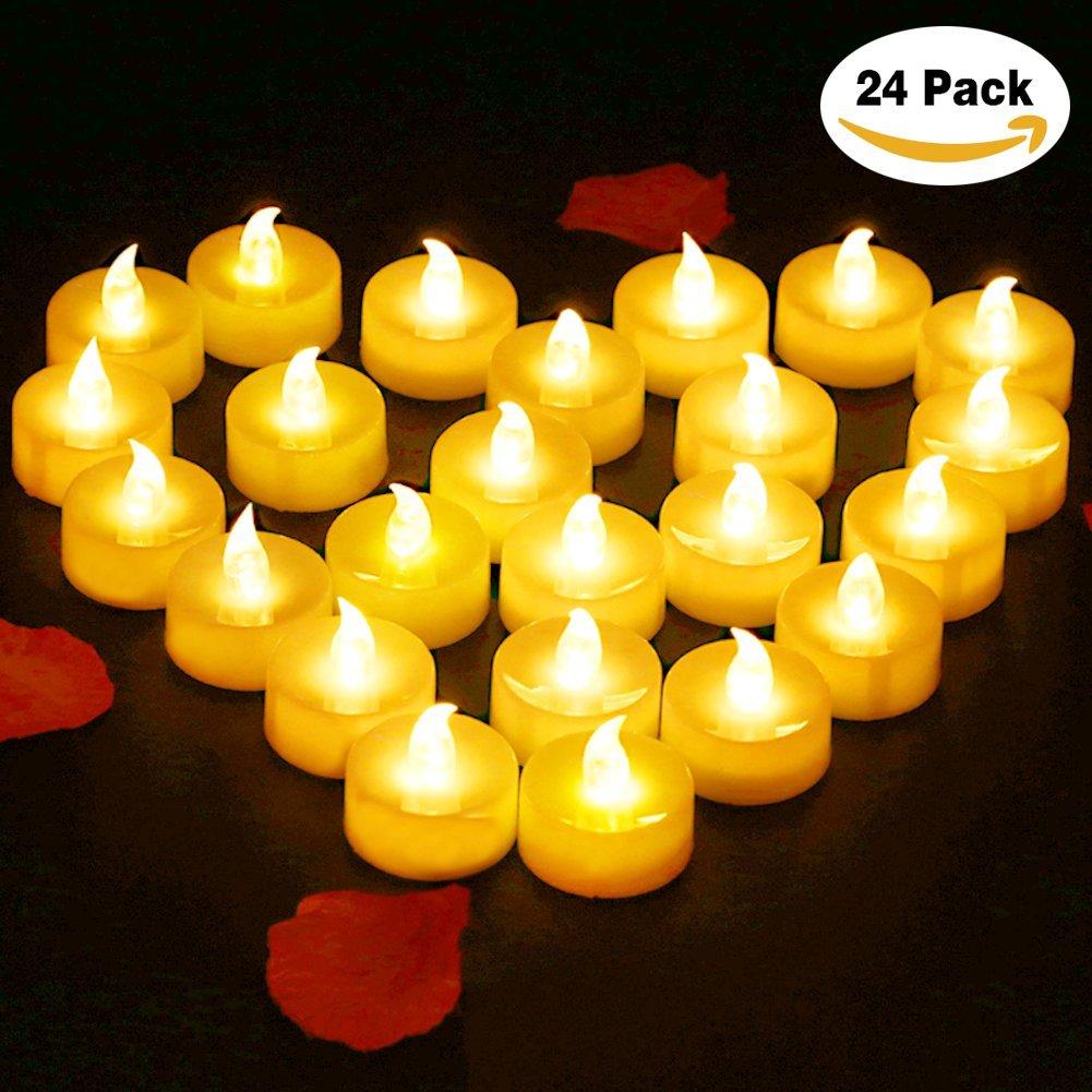 Flameless Candles LED Tea light-glamouric電池式ちらつきフレームレスキャンドルLEDティーライトキャンドル( Pack of 24 ) B077F2YHDD 14123