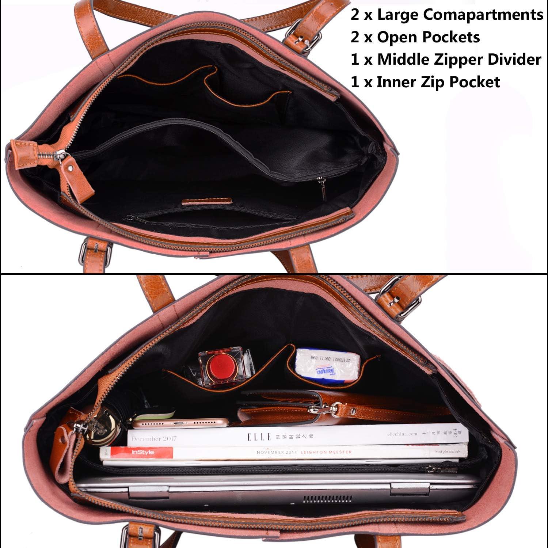 Gywon Soft Genuine Leather Work Tote Bags for Women Handbags Purse Lightweight Shoulder Bag