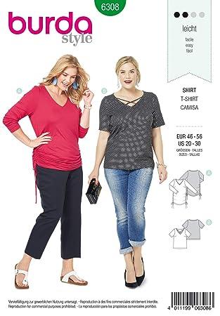 Häufig Burda Schnittmuster 6308, T-Shirt [Damen, Gr. 46-56] zum selber HF98