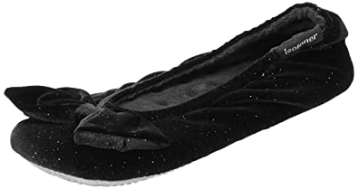 d5bd23c88aa Isotoner Women s Sparkle Big Bow Ballet Slippers Low-Top  Amazon.co ...