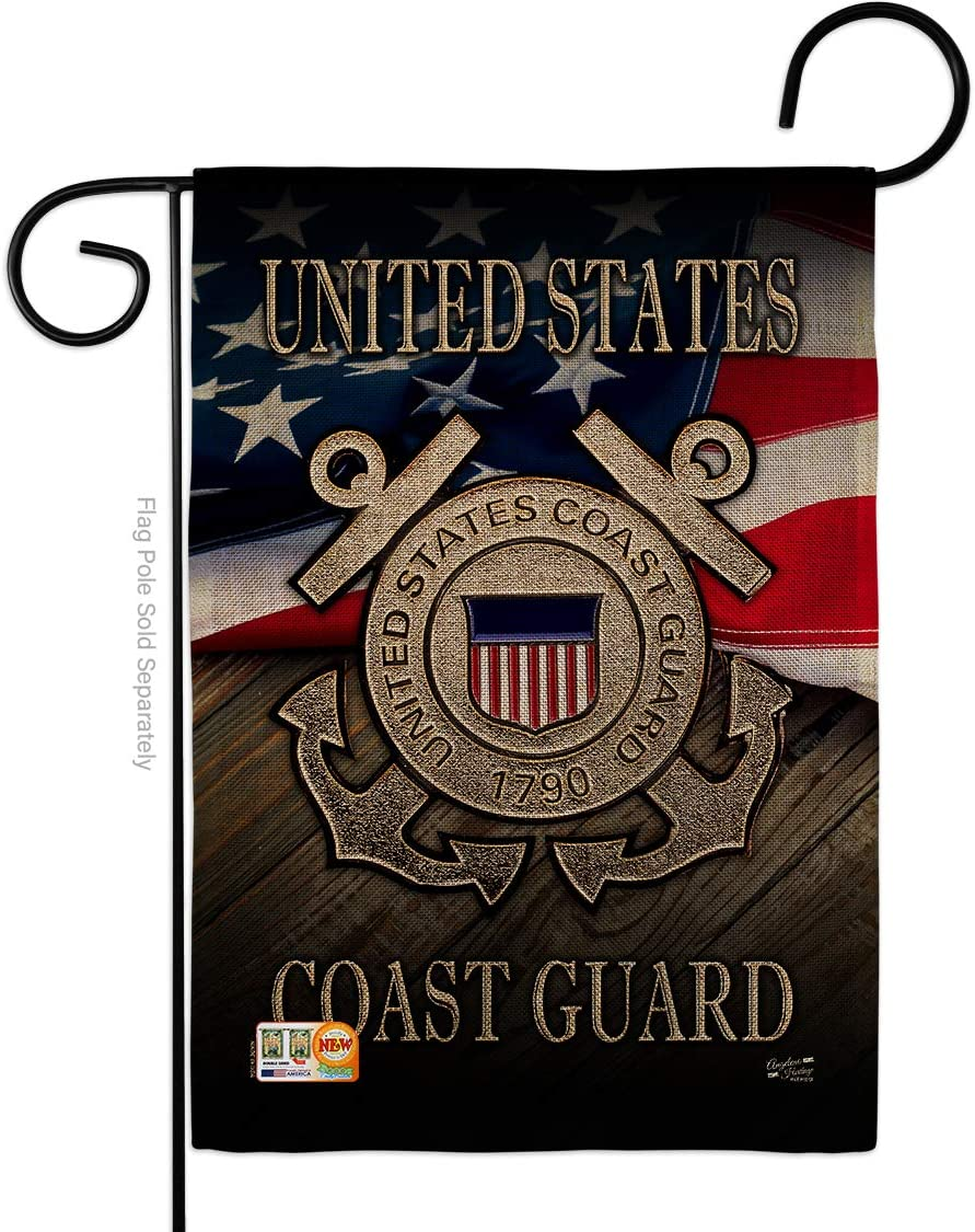 "G135135-DB US Coast Guard Burlap Americana Military Veteran Decorative Gift Vertical 13"" x 18.5"" Double Sided Garden Flag Made in USA"