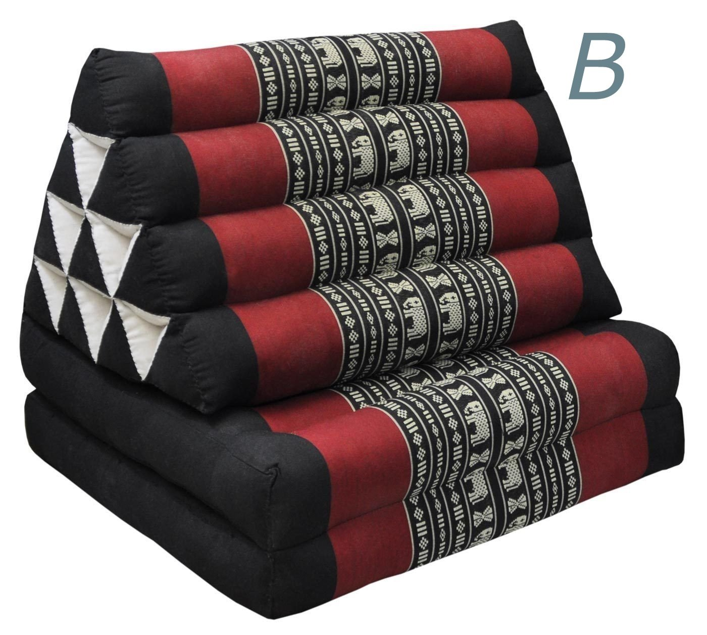 Tungyashop@thai Traditional Cushion Kapok Mattress (Red-black, 2 Fold) by NOINOI