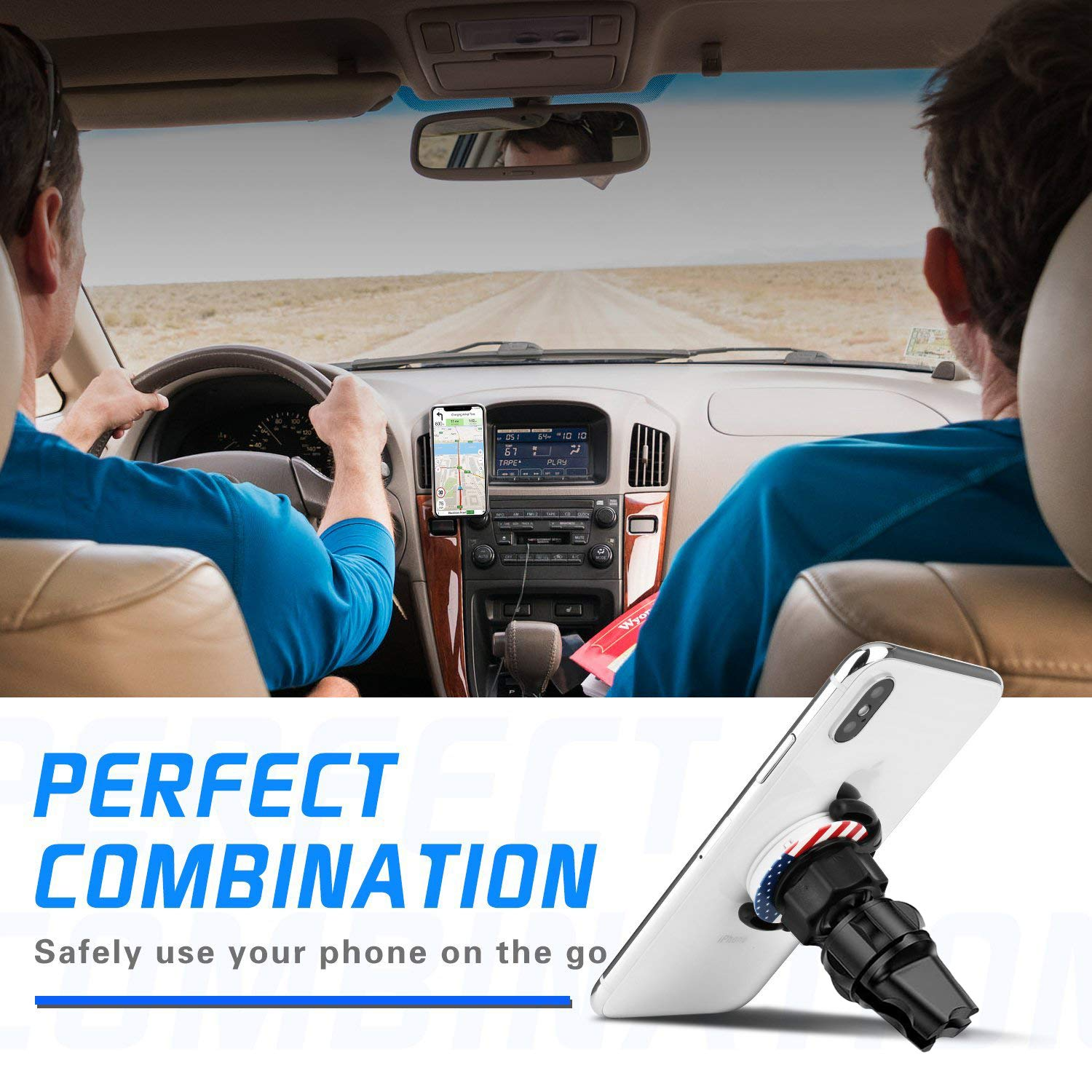 Car Mount 2 Pack Air Vent Clip Stand for Phone 360/° Rotation Expanding Stand Grip Holder GPS Navigation