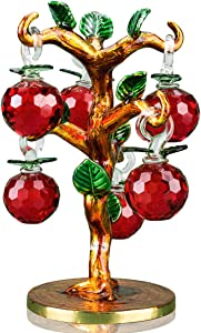 YU FENG Crystal Apple Tree with Golden Enamel Solid Branch&Base 6 Chakras Healing Crystals Red Apple Decorations Centerpiece Tree of Life for Livingroom