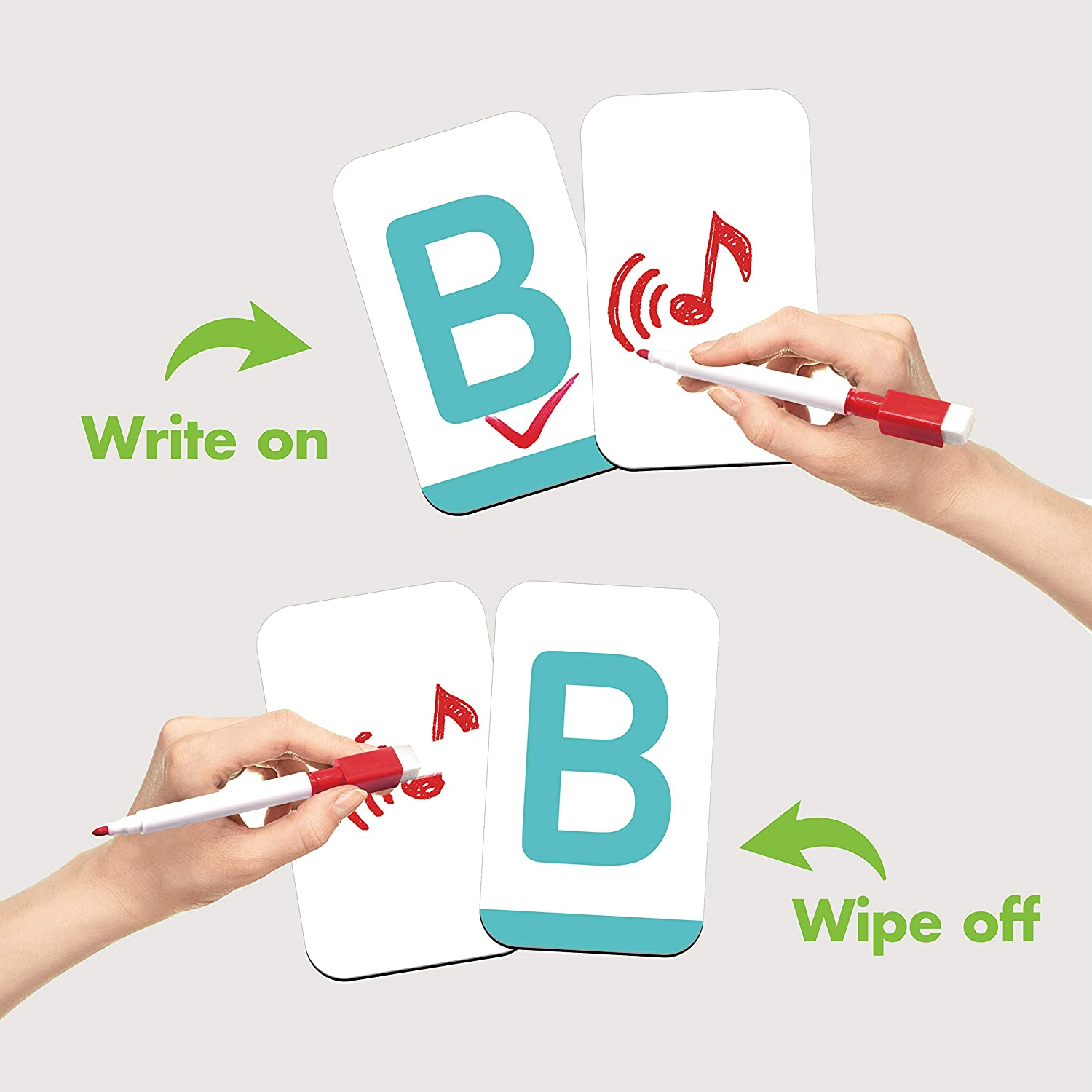 Lowercase and upper case letter tracing cards
