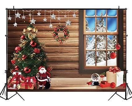 funnytree 7x5ft christmas tree rustic cabin photography backdrop xmas winter wood floor window background indoor decorations - Christmas Decorations For Indoor Windows