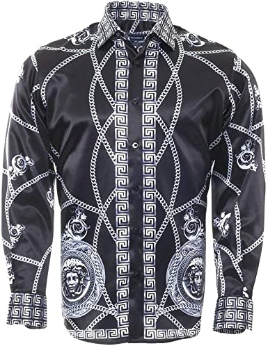 Oscar Banks Medallion and Chain Print - Camisa para Hombre: Amazon.es: Ropa y accesorios