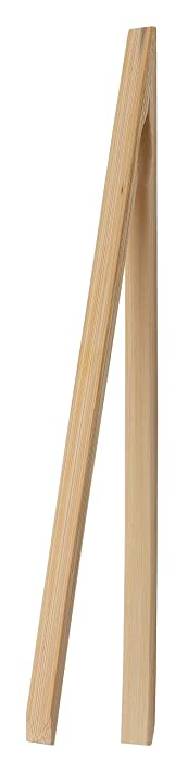 HIC Harold Import Co. 4042 HIC Toast Tongs, Natural Bamboo, 12-Inches, 12 Inch, Wood