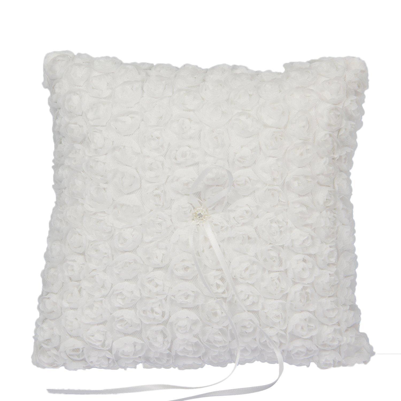Somnr® Elegant Lace Ring Bearer Pillow for Wedding Party Prom (White)