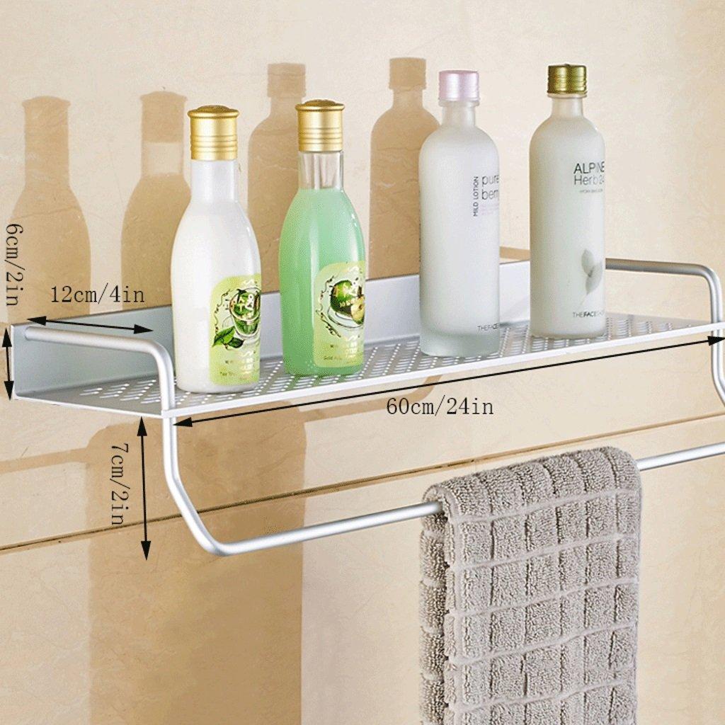YXN Space Aluminum Bathroom Shelf Single Bathroom Wall Mounted Metal Pendant Thickened Bathroom Corner Accessories (Size : 60cm)