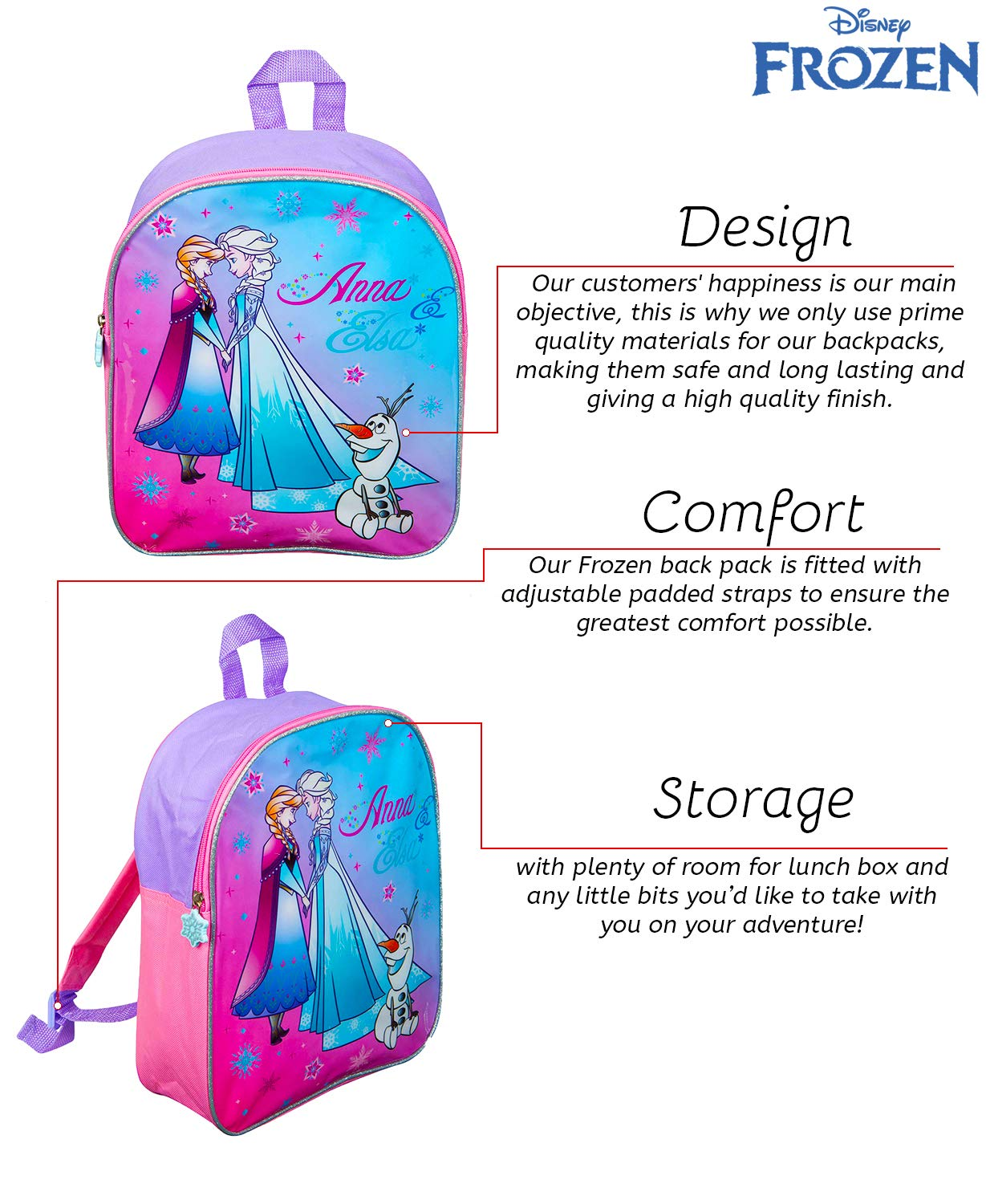 205832f2e6 Disney Frozen School Bag for Girl Kids Travel Bag Anna Elsa Olaf Junior  Girls Backpack Childrens Luggage Pink Rucksack  Amazon.co.uk  Luggage