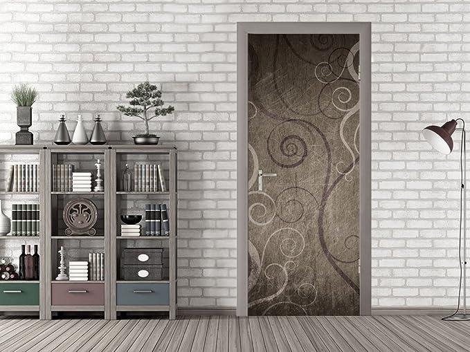 Decorativo Puerta Puerta adhesivo para salón Ornamente líneas curvas, plástico madera vidrio, 92 x 213 cm: Amazon.es: Hogar