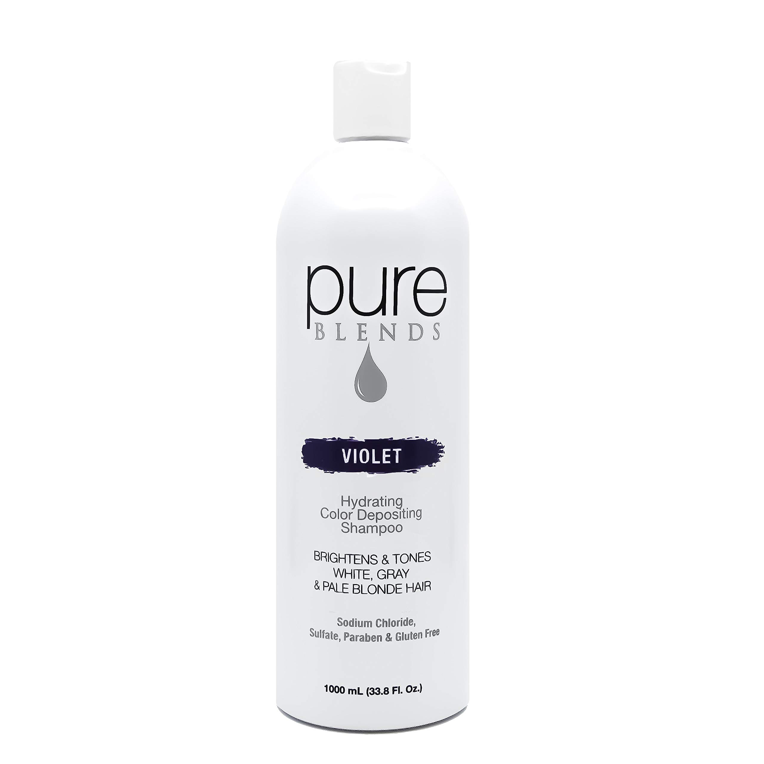 Pure Blends Hydrating Color Depositing Shampoo - Violet (White, Gray, Pale Blonde Hair) 33.8 Ounce - Salon Quality by Pure Blends