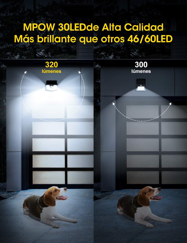 Impermeable IP65 Garaje Patio Mpow Luz Solar de Exterior de 3-8M Detecci/ón,L/ámpara Solar 270/° /Ángulo de Iluminaci/ón F/ácil de Instalar,Jard/ín Terraza PIR Sensor de Movimiento