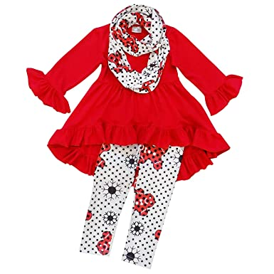ab8c6d7f85a22e So Sydney Toddler Girls 3 Pc Hi Lo Christmas Holiday Ruffle Tunic Outfit,  Scarf (