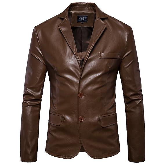 d12d38e377 Elonglin Homme Veste de Moto en Simili Cuir Blazer Style Blouson Motard  Boutonné Imitation Cuir Imperméable