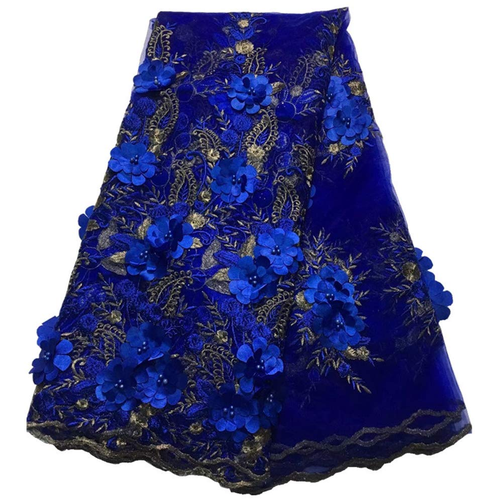 Milylace 5 Yards 3D Floral African Lace Fabric Nigerian Embroidered Mesh Lace Fabric with Beads for Wedding (Royal Blue)