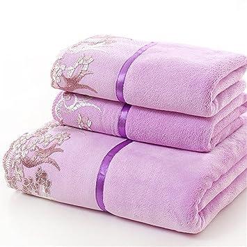 decorative bath towels purple. Bath Towels Sets Decorative Lace,Ultra Soft 3 Pack,Luxurious Rayon Trim,Easy Purple L