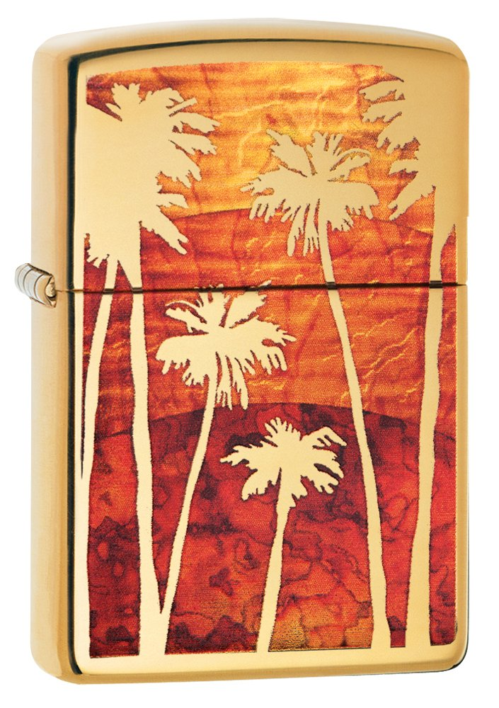 Zippo Palm Tree Sunset Winddicht Feuerzeug – Chrom poliert