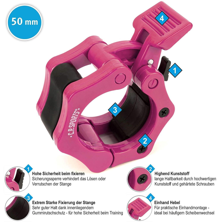 Chiusura Rapida e sicura 50 mm 50 mm per manubri Lunghi bilanciere Pink Chiusure per manubri da 25 mm Collare Barbell C.P.Sports 30 mm 28 mm 1 Paio bilanciere Corto