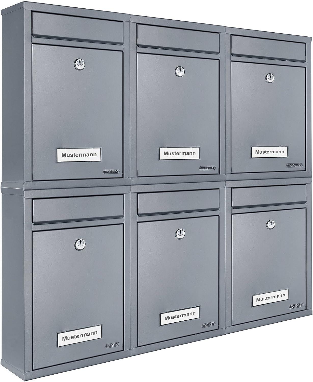 6x Briefkasten Set Wandbriefkasten Briefkastenanlage Postkasten Stahl Mailbox schwarz