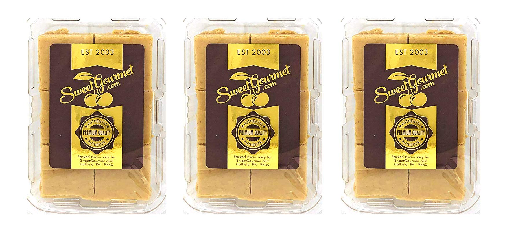 SweetGourmet Premium No Sugar Peanut Butter Fudge | Diabetic Safe, Sucralose | Low Net Carbs | Pack of 3 Boxes | 36oz by SweetGourmet