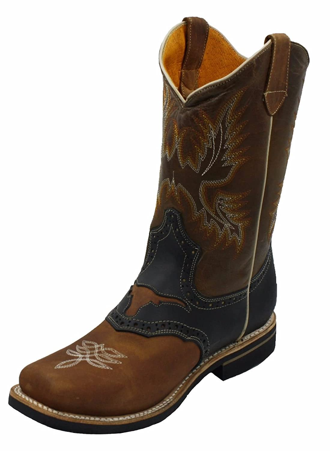 a0091bf90c5 Men Genuine Leather Square Toe decarative Shaft Western Cowboy Boots