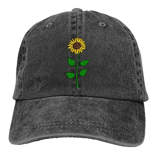 Sunflower Unisex Vintage Adjustable Baseball Cap Cotton Denim Dad Hat  Trucker Hat Black 7d5183df19b