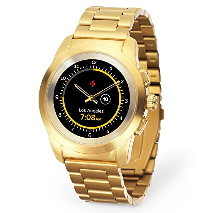 MyKronoz ZeTime Regular Elite Hybrid Smartwatch 44mm with Mechanical Hands Over a Color Touch Screen – Brushed Yellow Gold/Metal Link