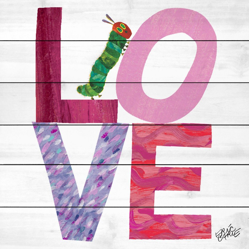 Eric Carle 'Caterpillar Love' Painting Print on White Wood, 32'' X 32'' by Eric Carle (Image #1)