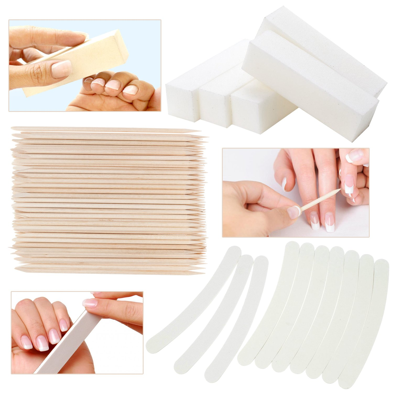 Great Offer Set Kit of Professional High Quality Manicure Pedicure Nail Art Accessories Tools Including 5pcs White Buffers / Sanding / Buffing Blocks 100/100, 10pcs 100/180 Curved Banana / Boomerang Files / Filers And 100pcs Orange Wooden Sticks / Cuticle
