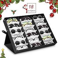 amzdeal Scatola Occhiali da 18 Posti Custodia Porta Occhiali Contenitore e Espositore per Casa e Negozio