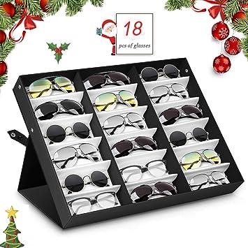 amzdeal Caja para Gafas de Sol con 18 Estuches para Organizar y Guardar Las Gafas, Joyas y Reflejos