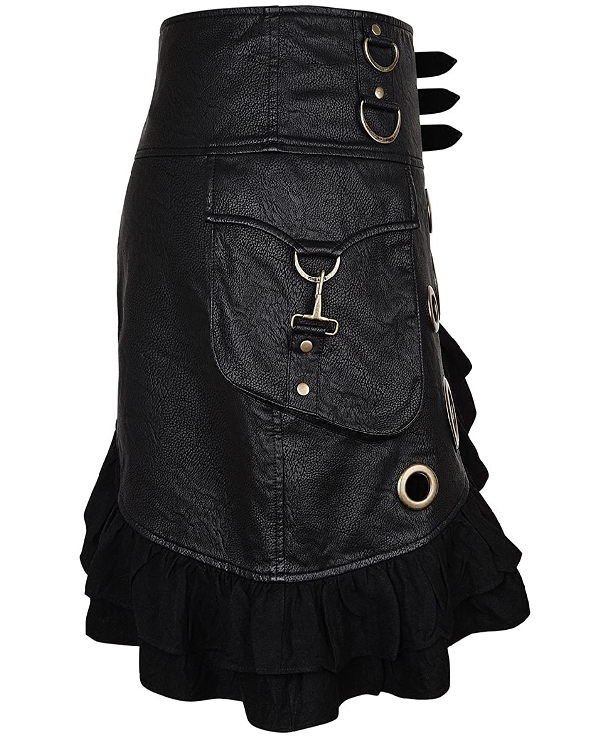 Punk Rave Steampunk Skirt Black Faux Leather Copper Goth DieselPunk Military