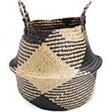 Jeteven Large Seagrass Tote Belly Basket Planter Laundry Hamper Toy Storage Organizer 12.6''x14.2''