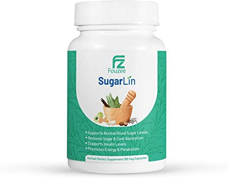 SugarLin Herbal Diabetic Blood Sugar Supplement, Support Glucose Levels and Reduce Carb Absorption, Control and Balance Insulin Levels, Vegan Friendly, 180 Vegetable Capsules