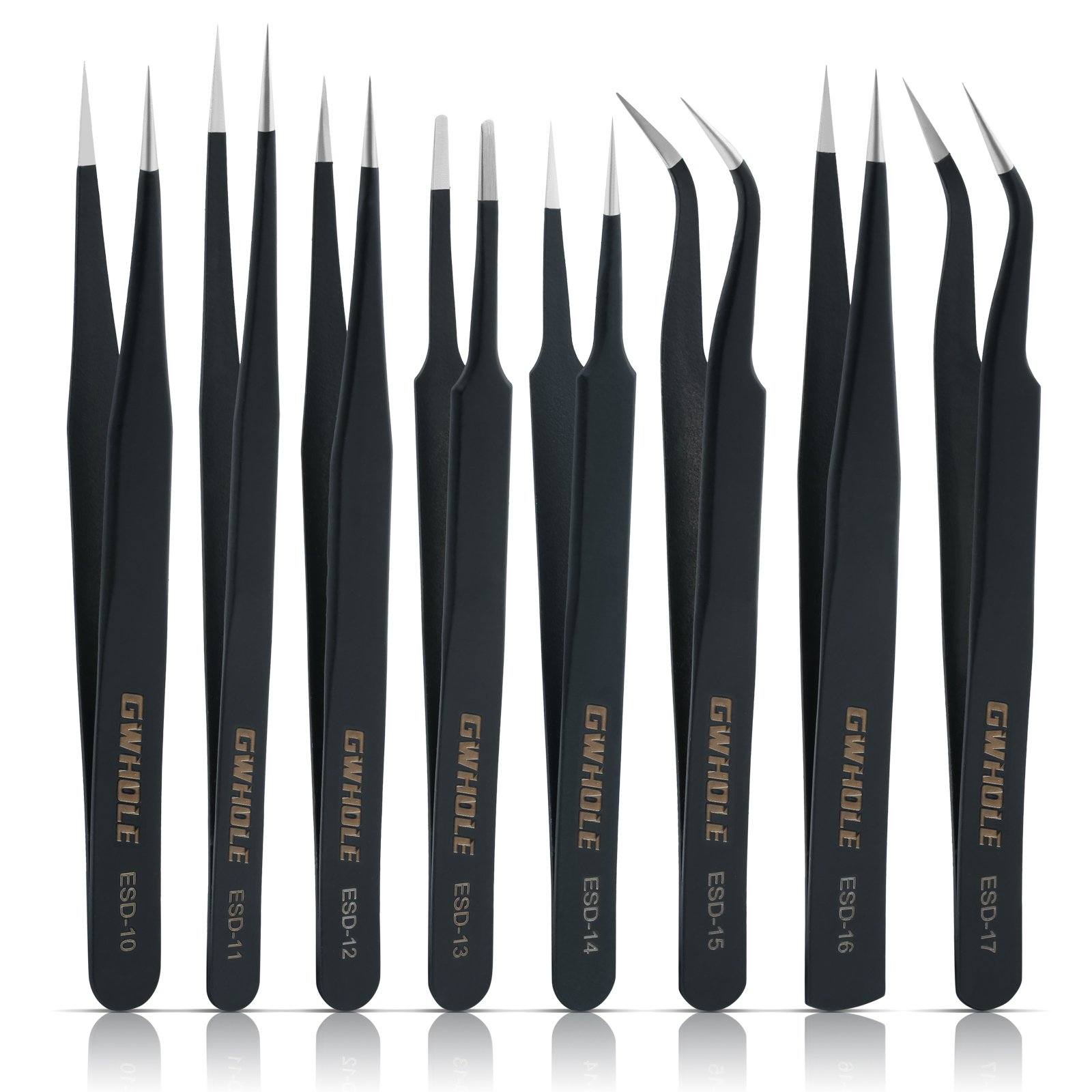 GWHOLE 8 Pcs Precision Anti-Static ESD Stainless Steel Tweezers Set for Electronics, Jewelry, Crafts by GWHOLE